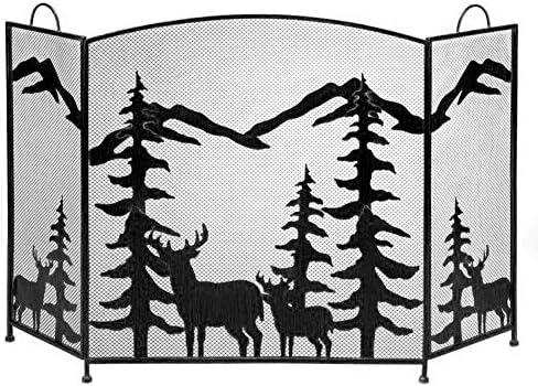 暖炉スクリーン 3つのパネルの黒い暖炉スクリーンの暖炉のドア、開いた火/ガスの火/丸太のバーナーのための大きい古典的な暖炉のゲートスクリーン