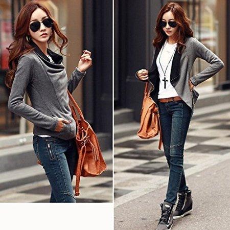 Zipper Automne Revers Minetom Jacket Manches Femme Cardigan Veste Blazer Gris Col Longues Gilet qR5x8w51