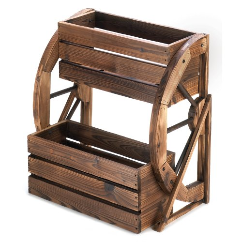 Fir Wood Wagon Wheel Double Tier Planter Plant Stand - Patio Furniture Wheels