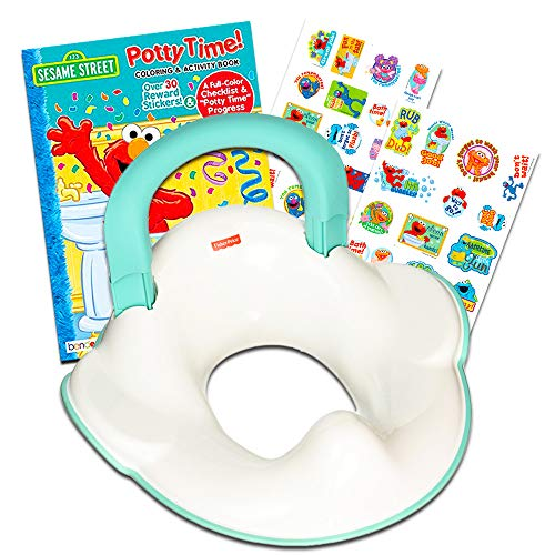 Fisher-Price Perfect Potty Ring and Sesame Street Elmo Potty Training Book Super Bundle for Toddlers - Includes Contoured Potty Ring and Potty Training Progress Chart, Poster and Reward ()
