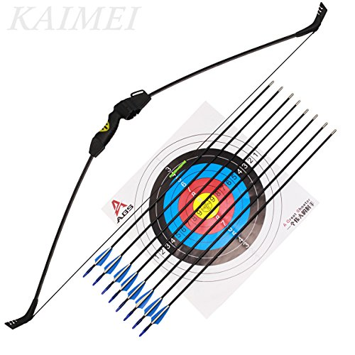 kaimei 48Inch Takedown Recurve Bow Archery for Youth Beginner Practice Hunting and Outdoor Shooting Weight Adjustable Right and Left Hand with 8 PCS Fiberglass Arrows -