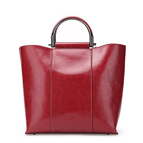 Xuanbao Bolso de Señora Retro Zipper closesure Bolso de Hombro Crossbody de Cuero Wild Messeger Bag Red (Color : Verde) Vino Rojo