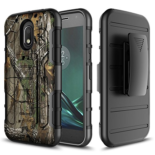Moto G4 Play Case, Moto G Play Case, Moto E3 Case, Starshop [Armor Holster] Dual Layers with Kickstand and Locking Belt Clip With [Premium HD Screen Protector Included] (Camouflage) (Moto Phone Cell Case G Camo)