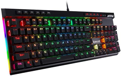 Redragon K580 VATA RGB LED Backlit Mechanical Gaming Keyboard with Macro Keys & Dedicated Media Controls, Onboard Macro Recording (Blue Switches)