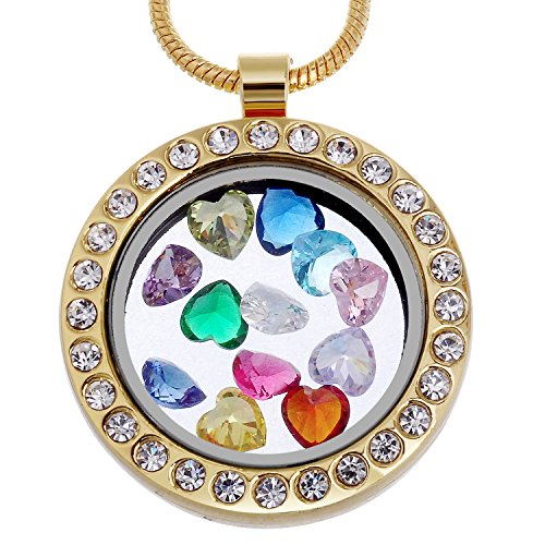 - RUBYCA Living Memory Round Locket Necklace 12 Heart Crystal Birthstones Floating Charms Gold Tone