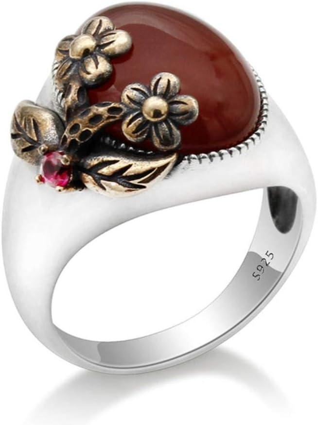 Anillo de mujer de piedra de ágata verde natural de plata de ley 925 vintage con flor hermosa Anillos de dedo de ónix elegantes Joyería fina, 8, piedra roja