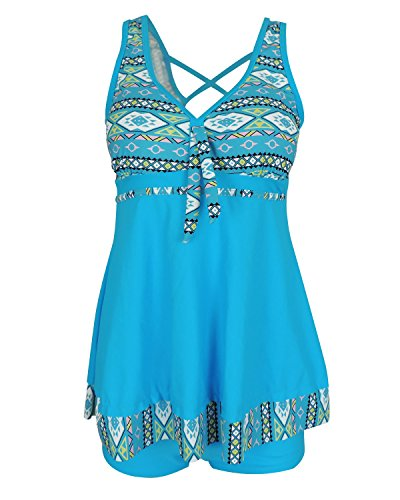 Yinhua Womens Plus Size Two Pieces Tankini Set Swimdress Tribal Print Swimsuits Swimwear with Boyshort, Blue, Large