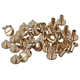 BQLZR Yellow 10 x 4 x 8mm Leather Brass Belt Wallet Craft Arc Solid Screw Nail Rivet Chicago Binding Screws With Studes Pack of 20