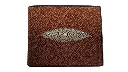 Genuine Stingray Leather Men's Bi-Fold Wallet w/ Left Flap in Brown ()