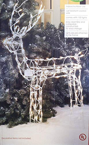 Animated 3-D Wire Standing Buck Reindeer, Lighted and Moving Christmas Yard Decoration, 48-inches Tall by Holiday Time (Image #3)