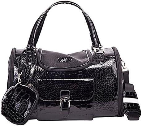YOUJIA Hund Katze Tragetaschen Handtasche Faux Krokodil Muster Haustier Tasche Tragetasche Handtasche mit Geldbörse S (34 * 22 * 20cm), Schwarz