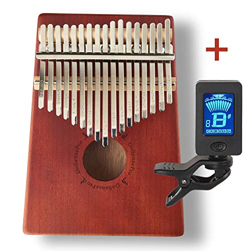 New Kalimba 17 Keys Thumb Piano + Bonus Chromatic Tuner Kit by DoSensePro. Solid Mahogany with Steel Bars Mbira Finger Piano in Tone C Includes Tuning Hammer, Storage Bag, Manual and Note Stickers ()