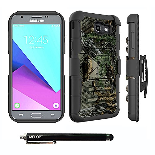 Case for Galaxy J7 2017/J7 V / J7 Prime / J7 Perx / J7 Sky Pro/ Galaxy Halo Case, MELOP Three Layer Swivel Belt Clip With Kickstand Holster Built-In Armor Case for Samsung Galaxy J7 2017 - Jungle Camo