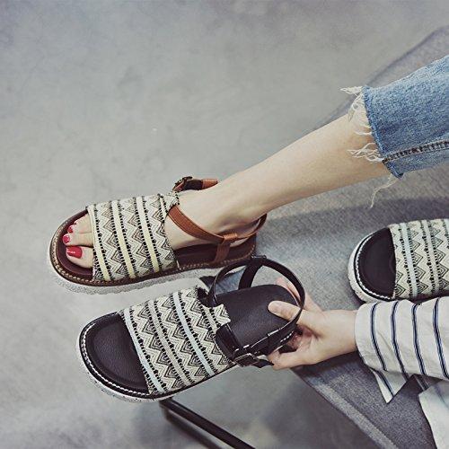 toe YMFIE antiskid estate confortevoli toe ladies sandals spiaggia da semplice scarpe Moda retrò Bohemian b q4wrzX4