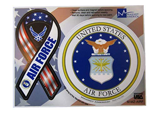 ALBATROS (2 Pack) U.S. Air Force Emblem with Ribbon 4ft Inch Magnet (Car Fridge Other) for Home and Parades, Official Party, All Weather Indoors Outdoors]()
