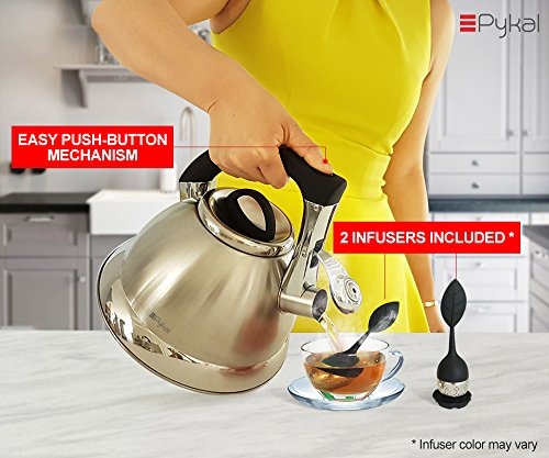 Whistling Tea Kettle with iCool - Handle, Surgical Stainless Steel Teapot for ALL Stovetops, 2 FREE Infusers Included, 3 Quart by Pykal by Pykal (Image #2)