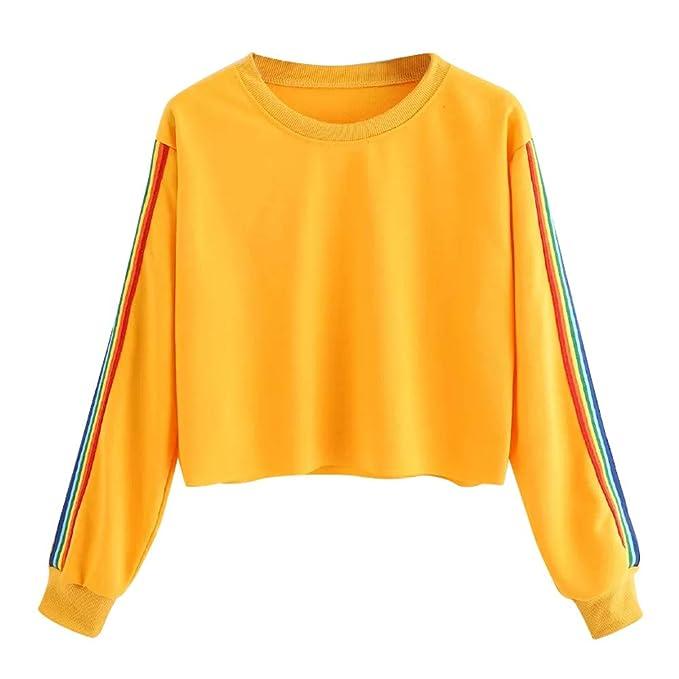 ... Capucha Cortas para Mujer Camisetas -Sudadera Arcoiris -SuéTer Estilo Adolescente -Sudadera Simple -Sudadera Chica Guapa: Amazon.es: Ropa y accesorios