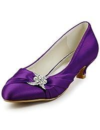 ElegantPark EP2006L Women Closed Toe Comfort Heel Rhinestone Satin Wedding Bridal Shoes