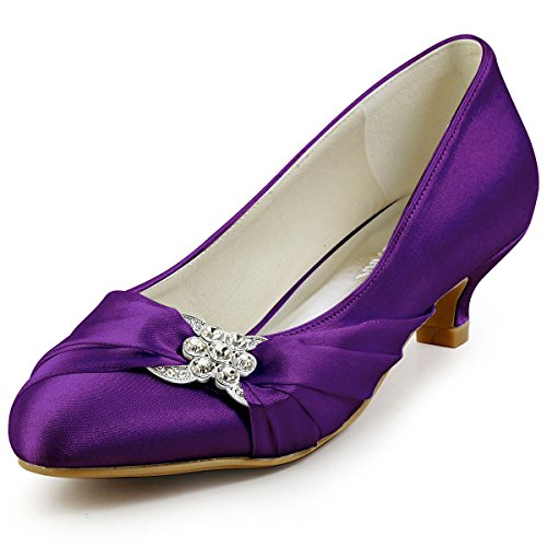 ElegantPark EP2006L Women Closed Toe Comfort Heel Rhinestone Satin Wedding  Bridal Shoes Purple US 10
