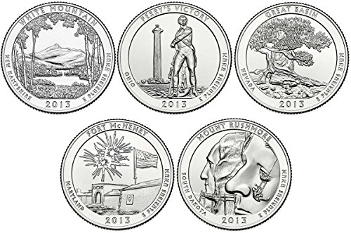 2013 S BU National Parks Quarters - 5 coin Set San Francisco Mint Uncirculated