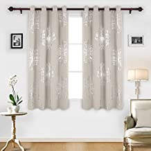 Deconovo Foil Print Floral Panels Thermal Insulated Blackout Curtain Window Blackout Drapes For Living Room Light Beige 52W by 63L Inch One Pair