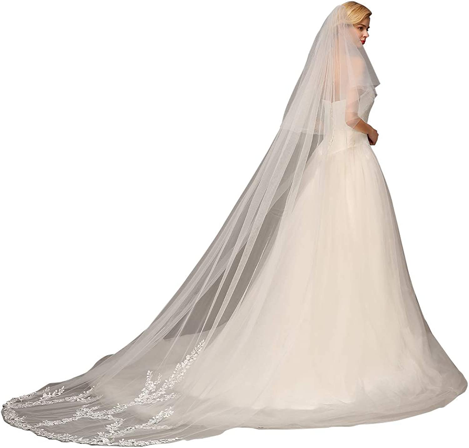 Babyonline Women's 3 m Length 2 Tier Tulle Sheer Lace Wedding Bridal Veil with Comb