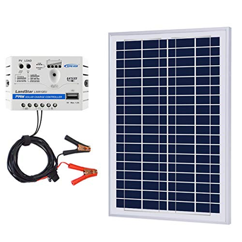 - ACOPOWER 25W 12V Solar Charger Kit, 25 Watts Polycrystalline Solar Panel & 5A Charge Controller for RV, Boats, Camping; w USB 5V Output as Phone Charger