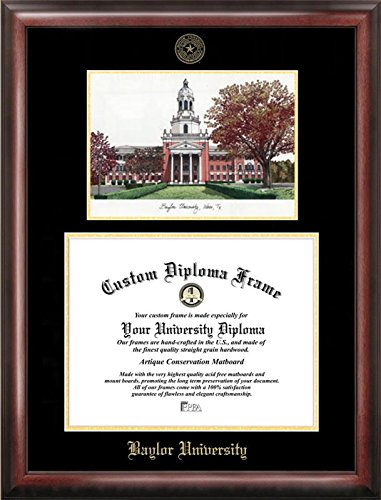 Campus Images TX955LGED Baylor University Embossed Diploma Frame with Lithograph Print, 11