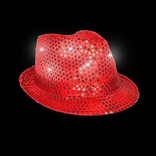 Fun Central O751, 1 Pc Red LED Light Up Sequin Fedora, Fedora Hats for Women, Light Up Hat, Flashing Sequin Hat, LED Party Pack, Fedora for Concert, Stage Performances, Disco and Retro Party -