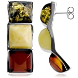 Multicolor Amber Sterling Silver Square Amazing Modern Earrings
