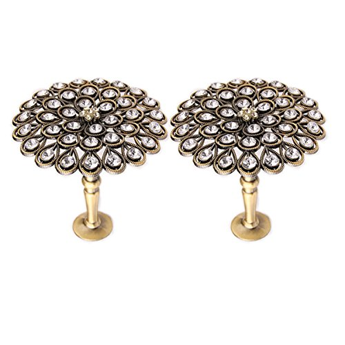 YING CHIC YYC 1Pair New Crystal Flower Medallion Drapery Holdback Curtian Wall Hook Curtain Rod Coat Hanger (Bronze)