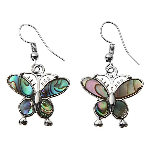 Natural Abalone Shell Earrings - UEB Lady Earrings Butterfly Metal Edging Natural Abalone Shell Earrings For Festivals