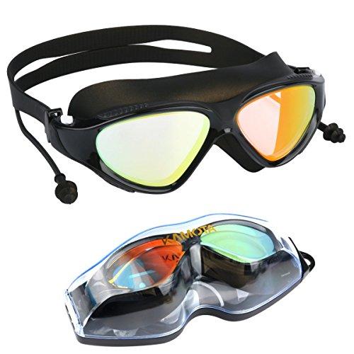 Swim Goggles, KAMOTA Swimming Goggles NO Leaking Anti Fog UV Protection Truathlon Swim Goggles with Protection Case For Adult Men Women Youth Kids Child (BLACK)