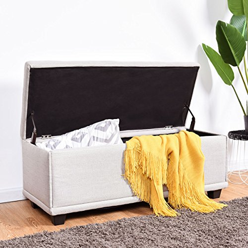 "Giantex 40"" Storage Ottoman Bench Modern Storage Chest Rectangular Single Ottoman Footstool Linen Padded Seat Wood Bed Bench Seat Box (Light Gray)"
