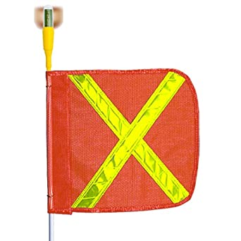 Flagstaff G3 Safety Flag with White Reflective X and Flashing Light, Threaded Hex Base