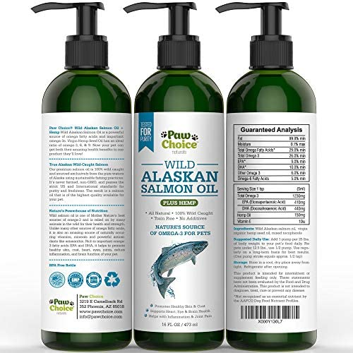 Paw Choice Wild Alaskan Salmon Oil with Organic Hemp Oil for Dogs and Cats – Omega 3 6 9 Fish Oil for Pets – Supports Skin, Coat, Joint, Heart, Immune Health – Made in USA, 16 OZ