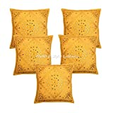 Stylo Culture Ethnic Embroidered Mirror Throw Pillow Covers 24x24 Home Decor Mango Yellow Large Couch Sofa Throw Pillow Covers 24x24 |Set of 5