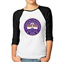 ZULA Women's Unique Clemson University 3/4-Sleeve Raglan T-shirt Black