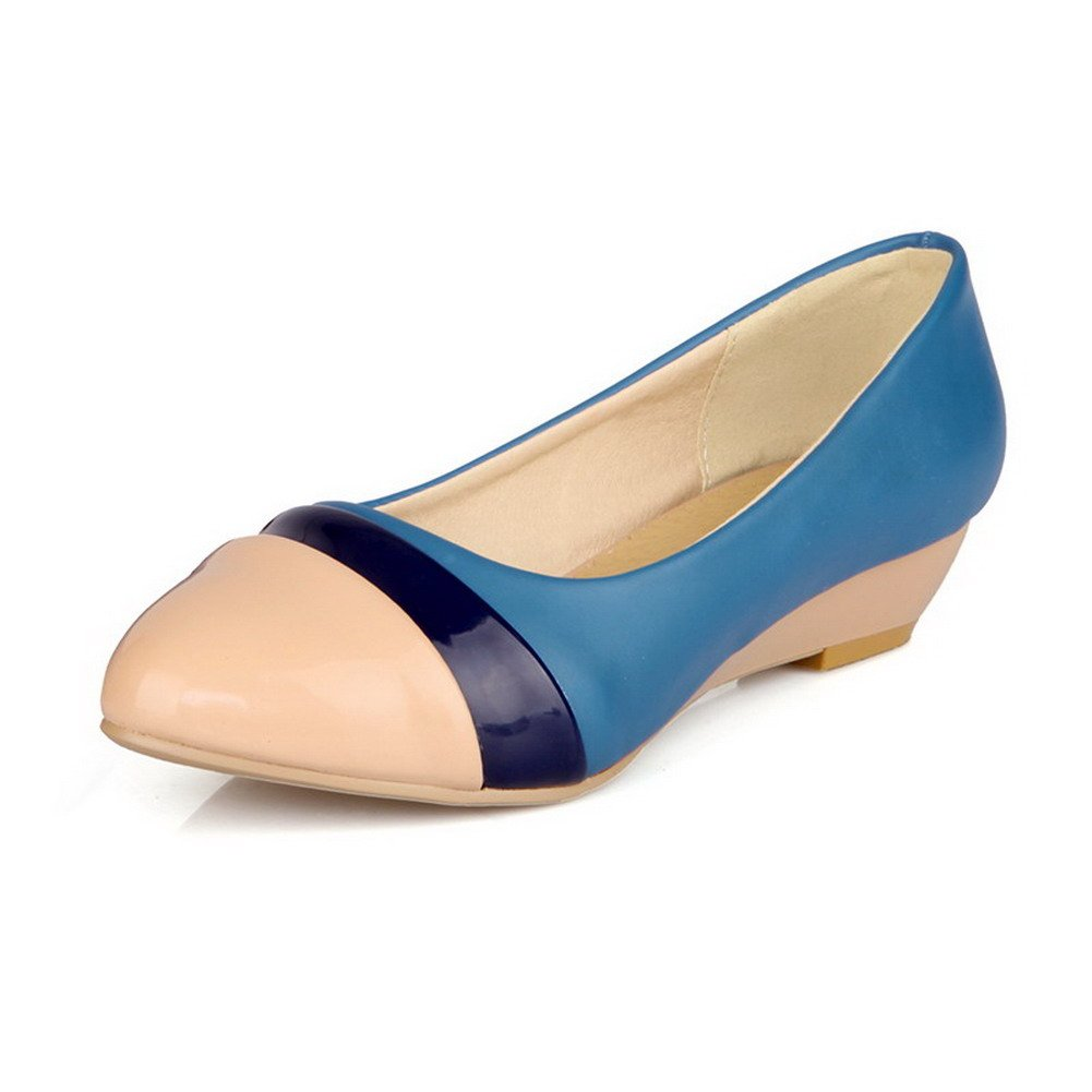 VogueZone009 Women's Pull-on Low-Heels PU Two-Toned Round Closed Toe Pumps-Shoes, Apricot, 32