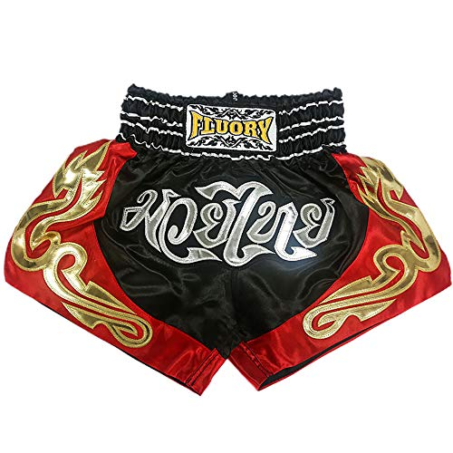 FLUORY Kids Muay Thai Shorts Children Boxing Fighting Shorts for Boys and Girls (MTSF57BLACK, XXS)