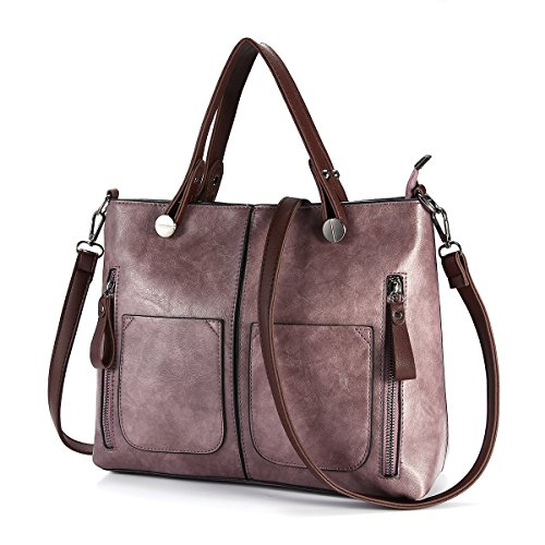 Top Handle Satchel Handbags, JOSEKO Women Retro Solid Tote Bags Dating Soft Leather Large Capacity Crossbody Bags Purple 12.25 inch(L) x 4.33 inch(W) x 9.84 inch(H)