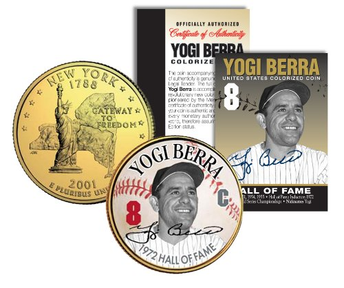 - YOGI BERRA *Hall of Fame* Legends Colorized New York Quarter US Gold Plated Coin