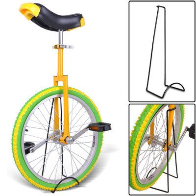 20'' in Colorized Wheel Uni-Cycle Skidproof Unicycle w Stand Cycling Yellow Green by Kingos Shop (Image #1)