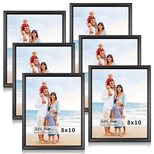 LaVie Home 8x10 Picture Frames (6 Pack, Black) Simple Designed Photo Frame with High Definition Glass for Wall Mount & Table Top Display, Set of 6 Classic Collection ()