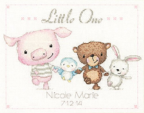 Dimensions 14 Count Little One Birth Record Counted Cross Stitch Kit, 10 by 8-Inch Birth Record