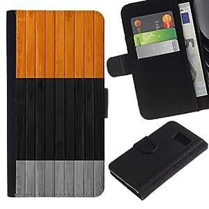 Planetar® Modelo colorido cuero carpeta tirón caso cubierta piel Holster Funda protección Para Samsung Galaxy S6 / SM-G920 ( Clean Colors Black Gray Grey Orange )