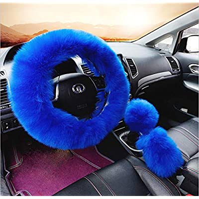 zzxswc Multicolor Fuzzy Steering Wheel Cover Car Accessories Universal Fit Car Steering Wheel Gear Shift Cover Handbrake Cover (Blue): Automotive
