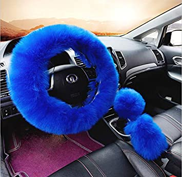 Purple Furry Soft Skidproof Universal SUV Car Auto Steering Wheel Cover fit 38cm