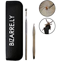 2pc Stainless Steel Tick Remover Set with Holder Case by Bizarre.ly - 2-in-1 Removal Tweezer Tool and Hook - Treatment and Extractor Tweezers for Dogs, Humans and Cats - Easy to Sterilise and Clean