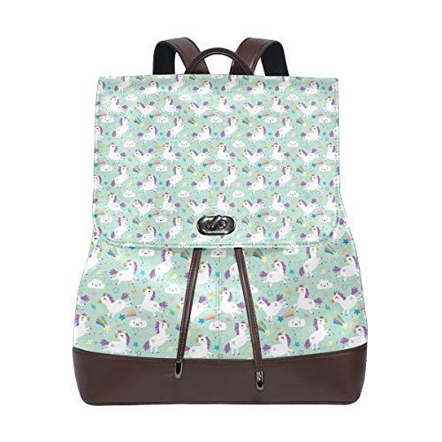Leather Unicorn Pattern Vector Im Backpack Daypack Bag Women -